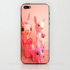 pink deer and elephant iPhone & iPod Skin by Vintage  Cuteness - $15.00#pink #vintage #pastel #bambi #doe #deer #fawn #feminine #kitsch #childrens #iphone #ipod #skin