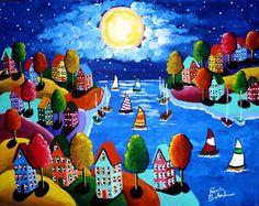 Night Sail Colorful Houses Sailboats Full Moon Whimsical Original Folk Art Painting Renie Britenbucher