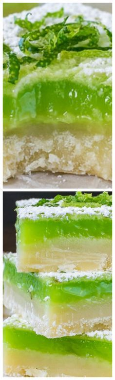 Key Lime Bars ~ A thick cookie crust and bright green key lime filling make these sweet and tart bars a must make recipe.