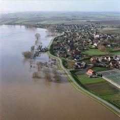 Hoog water 1995. Rivier de Waal bij Ophemert.