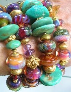 stacked bracelets: art glass beads, vermeil bali beads with turquoise and peruvivan opal