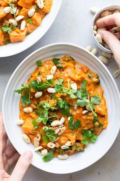 Sweet potato, kale and peanut curry. A delicious, creamy vegan curry that is ready in half an hour. Delicately spiced and packed with flavour and nutrition.