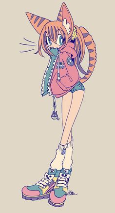 Cute Art Styles, Cartoon Art Styles, Arte Emo, Kawaii Art, Art Reference Poses, Character Design Inspiration, Pretty Art, Furry Art, Aesthetic Art