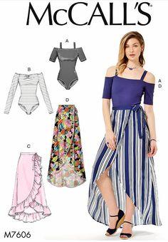 Stretch Knit Bodysuit Pattern  Wrap Skirt Pattern