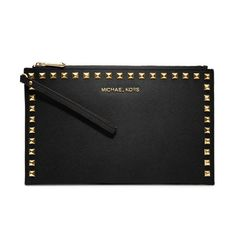 MICHAEL Michael Kors Large Selma Stud-Trim Saffiano Clutch found on Polyvore