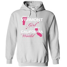 Just A Vermont Girl In A California World T-Shirts, Hoodies. ADD TO CART ==► https://www.sunfrog.com/Valentines/-28VTJustHong001-29-Just-A-Vermont-Girl-In-A-California-World-White-Hoodie.html?id=41382