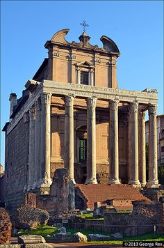 The Temple of Antoninus and Faustina in Rome, Italy, was built in 141 AD. It stands in the Forum Romanum, on the Via Sacra, opposite the Regia.