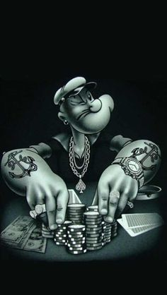 Great rendition of the classic Popeye figure, of course playing Poker.