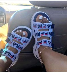 Shop Women's Fila Red White size 6 Athletic Shoes at a discounted price at Poshmark. Description: Worn once ‼️ Red,white & navy blue sports wear sandals. Fila Sandals, Sandals Outfit, Cute Sandals, Sandals For Sale, Shoes Sandals, Shoes Sneakers, Sneaker Heels, Sneakers Fashion, Fashion Shoes