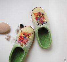 My Owl Barn: Felted Slippers by Audrone Monkiene