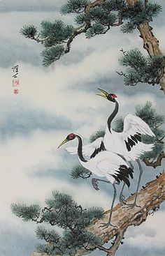 Chinese Brush Painting: cranes