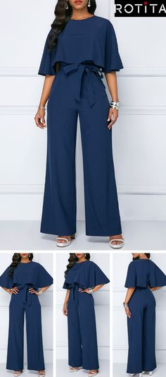 bf2474106b02 Navy Blue Jumpsuit is enough to make any girl s heart race with excitement!  It can be paired with pumps to dress it up or chunky heeled booties for an  edgy ...