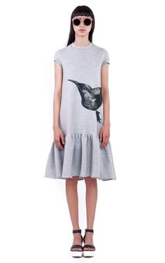 Daisy Grey Dress is a loose cropped above the knee length dress with a placement screen printed front and back bird graphic and ruffle hem. Daisy Dress, Jeans And Flats, Fashion Capsule, Dresses For Work, Formal Dresses, Spring Summer 2015, Slow Fashion, Cute Tops, Gray Dress