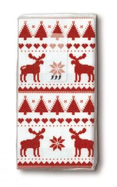 bedruckte Taschentücher nordische Muster rot - Servietten Versand Tischdeko Kerzen OnlineShop Paper Design, Pot Holders, Dinner Napkins, Candles, Red, Christmas, Patterns, Ideas, Hot Pads