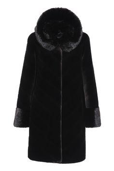8671962276 Sheared Mink Faux Fur Coat Knee Length with Shawl Hood Black Black Faux Fur  Coat