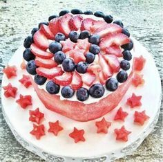 Red, White, and Blue Watermelon Cake from Real Sustenance via All Gluten-Free Desserts Gluten Free Sweets, Gluten Free Cakes, Gluten Free Baking, Delicious Desserts, Yummy Food, Watermelon Cake, Blue Cakes, New Cake, Summer Desserts