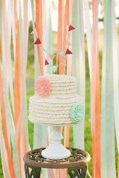 Bunting Wedding Cake TopperCustom by theartisann on Etsy, $35.00
