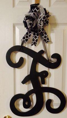 Hand painted Wood Vine Monogram Single Letter Initial Door Hanger  #Handmade