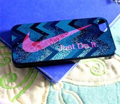 Nike Just Do It Blue Sparkle with Chevron for iPhone 4/4s/5/5s/5c, Samsung Galaxy s3/s4 case