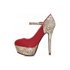 Red Scrub Sequins Accent Pump Heels ($33) ❤ liked on Polyvore featuring shoes, pumps, red, gold pumps, red pumps, gold sequin pumps, red heel pumps and glitter platform pumps