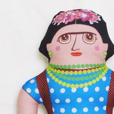 Frida Kahlo from Late Greats for $36.00 Diego Rivera, Self Portrait Artists, Frida And Diego, Frida Art, Renegade Craft Fair, Face Illustration, Softies, Plushies, Mexican Folk Art
