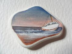 Boat near the beach  Original miniature by Alienstoatdesigns, $15.00