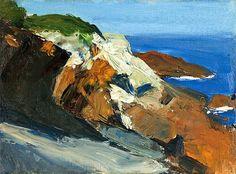 "Edward Hopper ""Sea and Rocky Shore,"" oil on canvas panel, 1916-19"