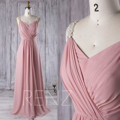 2016 Dusty Rose Chiffon Bridesmaid Dress, Ruched Bodice Wedding Dress, Beading Straps Prom Dress, A Line Maxi Dress Floor Length (L169)