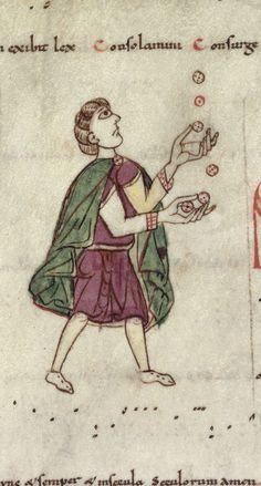 A juggler from a tonary (Brit. Lib. Harley 4951, fol. 298v), late 11th century