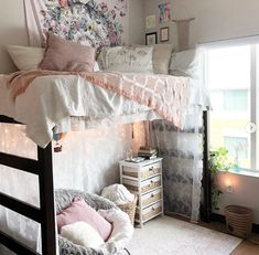 This elegant use of lace: 27 Dorm Rooms That Will Inspire Your Bedroom Makeover This Year