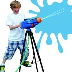 Monster Water Cannon w/ Tripod ------------------------------------- Powerful water gun mounted on a tripod for better aiming Shoots water up to 100 feet Attaches to hose for unlimited water Color: Blue/Black/Orange #cool tech gadgets #gadget #gadgets #cool #tech #technology #gizmo #gizmos #watercannon #TagsForLikes #phones #tablets