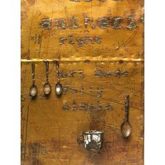 10 sheets of mild steel have been burned & rubbed to take on a patina of weathered earth. Inscribed are the words of Shakespeare's Sonnet 66, which many Zimbabwean children were required to learn. Bickle juxtaposes Shakespeare's words concerning injustice w/spoons, shoes, & other personal effects found on graves in Zimbabwe. She filled these items w/salt to acknowledge pain suffered & sand to help w/release from suffering. #earthmatters    Sarungano, Berry Bickle, 2001,  Zimbabwe, mixed…