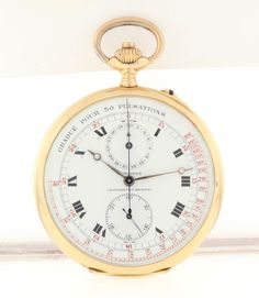 Longines Yellow Gold Open Face Chronograph Pocket Watch with Pulsations (Doctor's Watch) | From a unique collection of vintage pocket watches at https://www.1stdibs.com/jewelry/watches/pocket-watches/