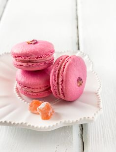 Strawberry & Rose Macarons - http://www.raspberricupcakes.com/2013/09/strawberry-rose-macarons.html