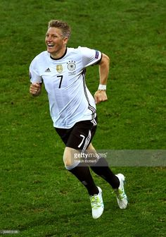 #EURO2016 Bastian Schweinsteiger of Germany celebrates scoring his team's second goal during the UEFA EURO 2016 Group C match between Germany and Ukraine at Stade Pierre-Mauroy on June 12, 2016 in Lille, France.