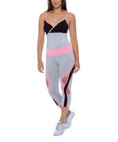 Loving this Gray & Pink Surplice Racerback Tank & Capri Leggings on #zulily! #zulilyfinds