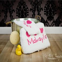 This gorgeous personalised and unique baby and young girl gift set includes a quality cotton, embroidered baby bath towel and face washer. The towel and face washer are embroidered with baby's first name and a gorgeous heart appliqué design. Baby Gift Box, Baby Girl Gifts, Personalized Baby Gifts, Unique Baby, Applique Designs, Towel Set, Little Girls, Bath Towels, Washer