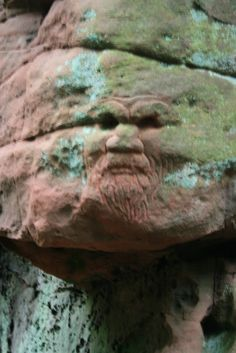 Mysterious Celtic carvings of uncertain date, possibly depicting the Green Man, and a 'Clooty Well' where strips of clothing and other votive offerings are tied to the trees. Ancient Art, Ancient History, Celtic Culture, Mysterious Places, Celtic Art, Green Man, Amazing Nature, Archaeology, Rock Sculpture