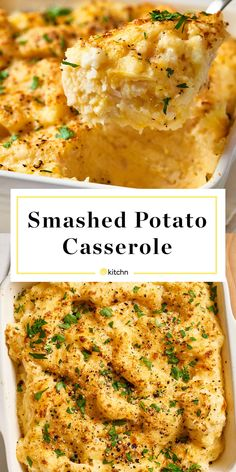 Low Carb Recipes To The Prism Weight Reduction Program Recipe: Smashed Potato Casserole Side Dish Recipes From The Kitchn Potatoe Casserole Recipes, Potato Recipes, Potato Dishes, Vegetable Recipes, Potato Ideas, Pierogi Casserole, Tuna Recipes, Healthy Recipes, Veggie Food