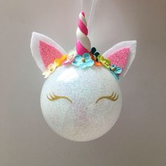 Unicorn Party Favors, Personalized Christmas Ornament, Unicorn Ornament, Christmas Gift, Christmas Decorations, Glitter Unicorn by SugarHats on Etsy https://www.etsy.com/listing/549264056/unicorn-party-favors-personalized