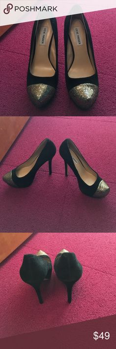 Steve Madden suede and gold toe pumps Never worn!!! Size 7.5. Steve Madden suede and gold toe pumps Steve Madden Shoes Heels