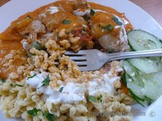 "Chicken paprikash and the popular Hungarian pasta ""nokedli"" are best friends and very often served together.  Nokedli is made from a home made noodle dough (think of  a very thick panca…"