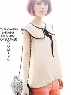 Free Shipping: Cream Sleeveless Blouse with Pretty Butterfly Collar and Black Piping