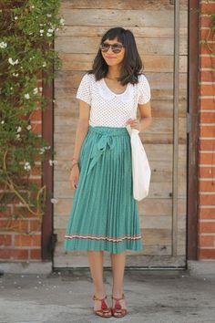 midi skirt, peterpan collar top, spring