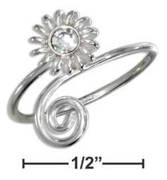 SPIRAL AND SUN  CUBIC ZIRCONIA STERLING SILVER TOE RING