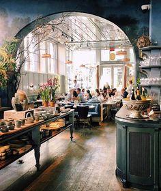 botanicaetcetera INTERIOR La Mercerie Cafe, New York Patrick Janelle from girlin… – Most Beautiful Furniture Plano Hotel, Casa Hotel, Commercial Design, Commercial Interiors, Cafe New York, Cafe Nyc, Cafe Industrial, Café Design, Café Bar