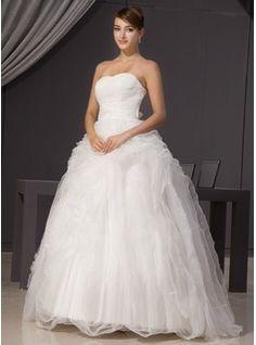 Ball-Gown Sweetheart Sweep Train Organza Satin Wedding Dress With Bow(s) Cascading Ruffles (002014468) - JJsHouse