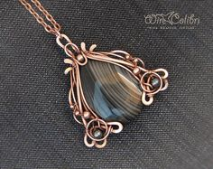 Black agate stone pendant necklace, wire wrapped jewelry handmade, wire wrap pendant
