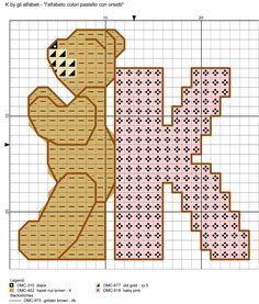 alfabeto colori pastello con orsetti K