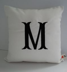 Sunbrella Natural Indoor Outdoor Canvas Pillow Cover, Initial Pillow Cover, Monogram Pillow, Decorative Letter Pillow, Alphabet Pillow Cover on Etsy, $31.00